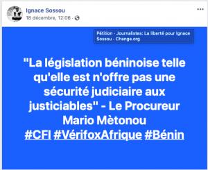 Le tweet publié par Ignace Sossou